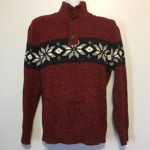 American Eagle Red Collar Sweater Sz Large